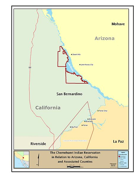 Chemehuevi Tribe Reservation. Source: http://commons.wikimedia.org/wiki/File:The_Chemehuevi_Indian_Reservation_in_Relation_to_Arizona,_California,_and_Associated_Counties.jpg