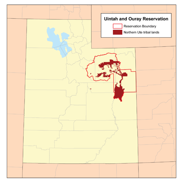 Northern Ute Tribe on Uintah and Ouray Indian Reservation. Source http://upload.wikimedia.org/wikipedia/commons/3/3e/UintahIRmap.png