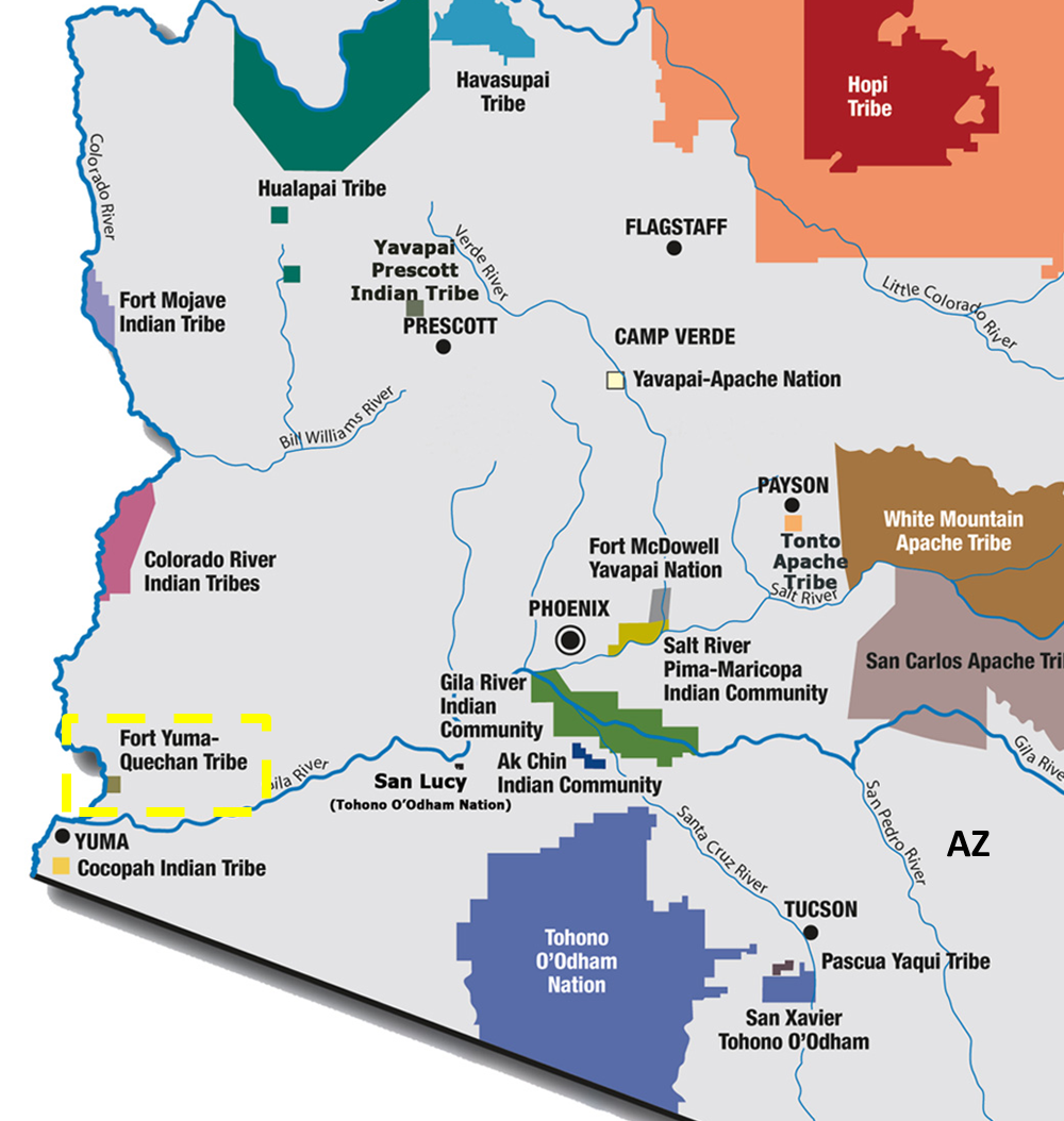 Map Of Arizona Indian Tribes.Quechan Indian Tribe Tribal Water Uses In The Colorado River Basin