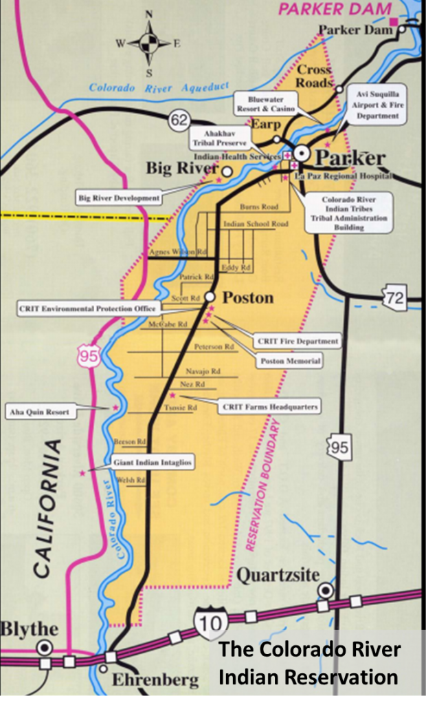 The Colorado River Indian Reservation. Source http://www.parkerareatourism.com/community/recreation/reservation.htm