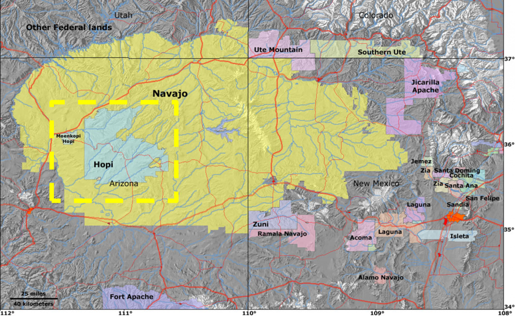 "Hopi Reservation. ""Landlocked"" in Navajo Reservation. Source: USGS"